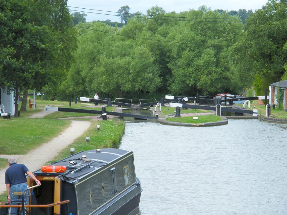 Cruising through a lock on a canal boat