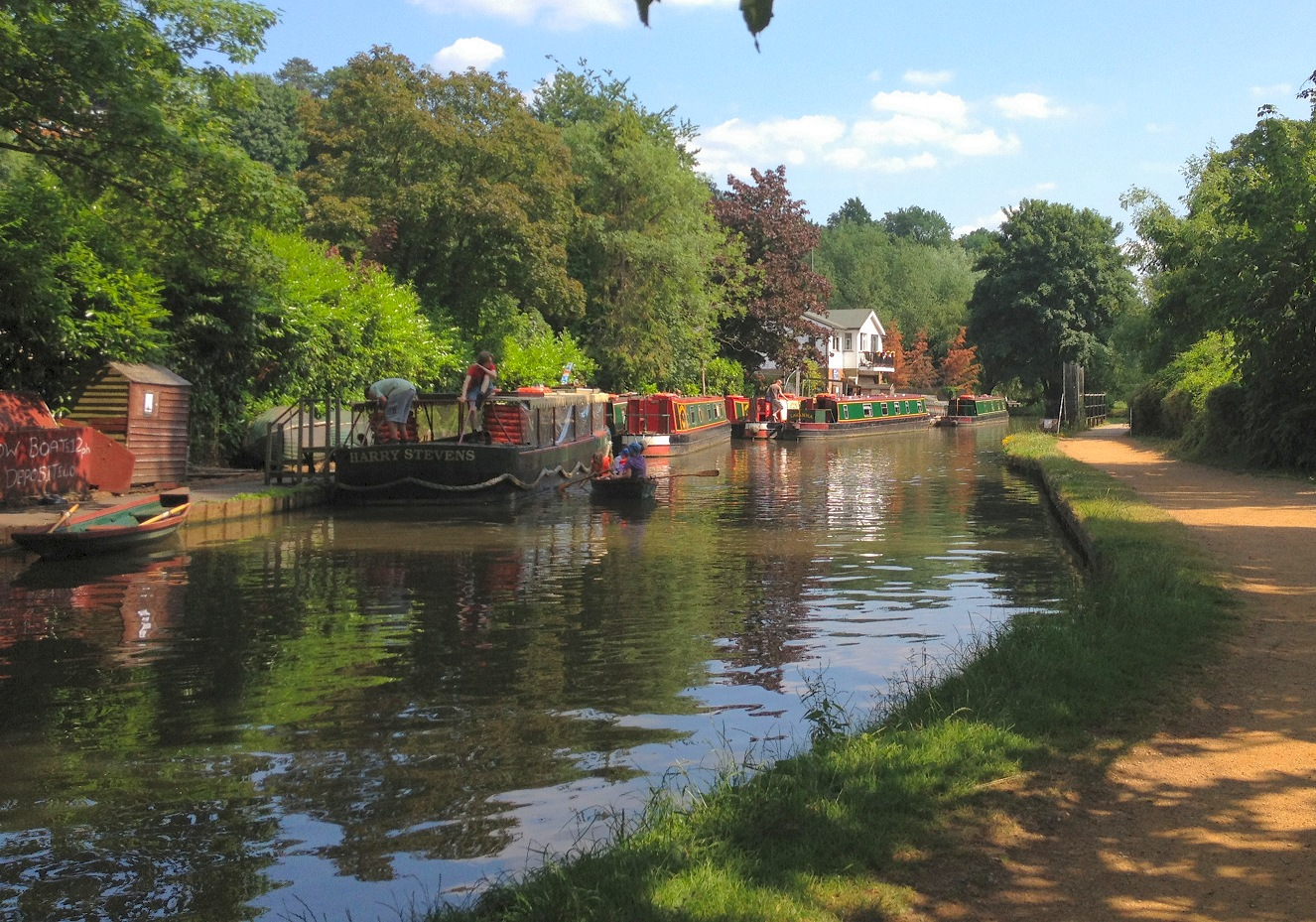 Narrowboats on the River Wey