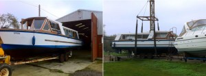 Duet Class boats emerging from the Boat Shed