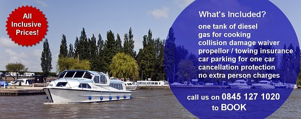 Norfolk Broads boat holiday - All Inclusive for 2013