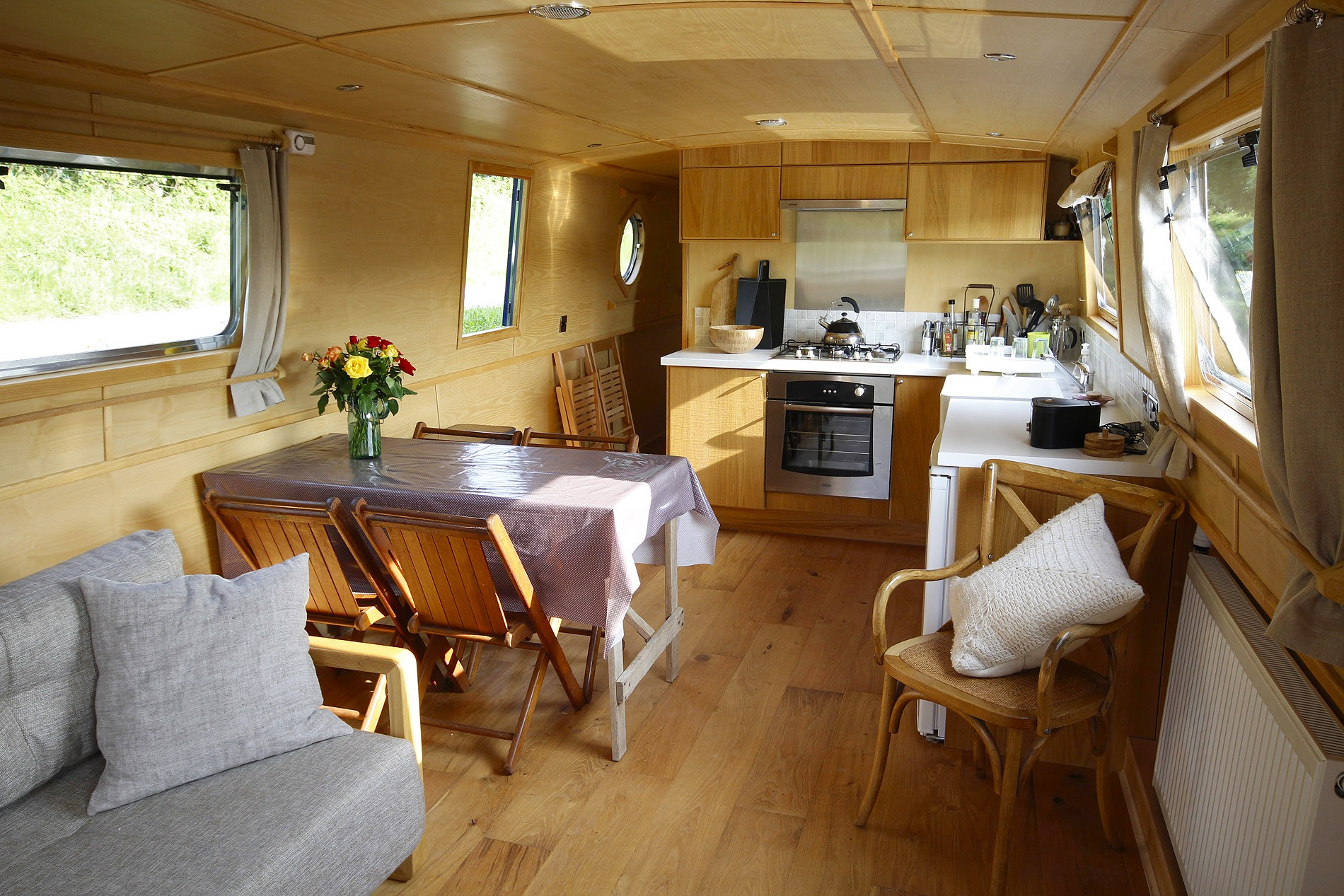 Luxury widebeam boat saloon area