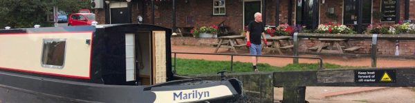 Marilyn outside the Big Lock, Middlewich