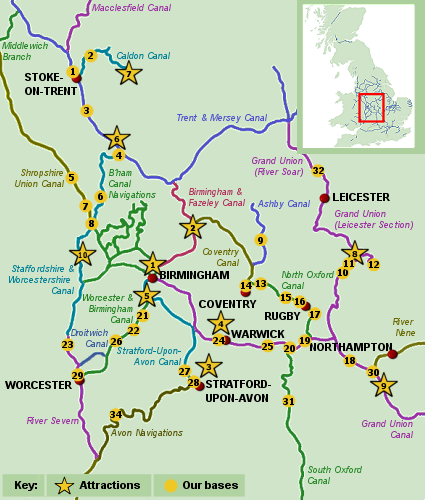 Map of Central England - boat holidays on the Central UK Canals & Rivers