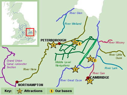 Map of the Fenland Waterways - narrowboat holiday in Cambridgeshire