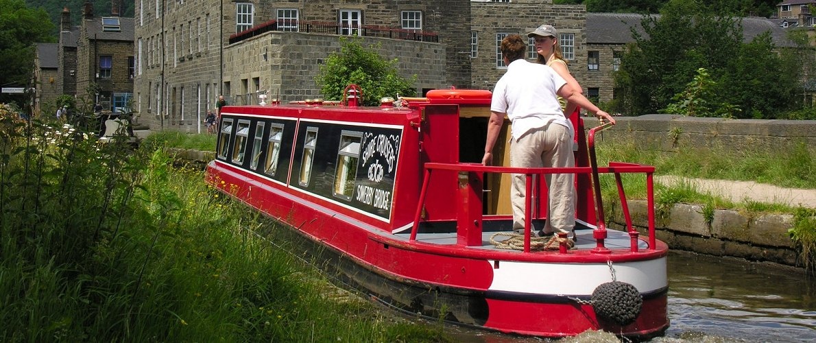 Rochdale Canal - hire boat at Hebden Bridge