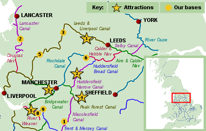 Map Of England Showing Leeds.Northern England Narrowboat Hire Pennines Leeds