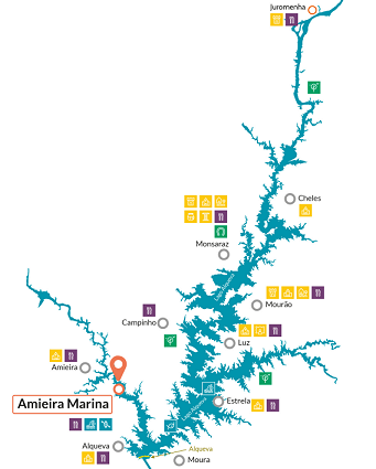 Amieira Marina & Portugal map