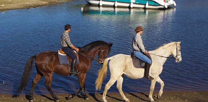 enjoy horse riding around the lake