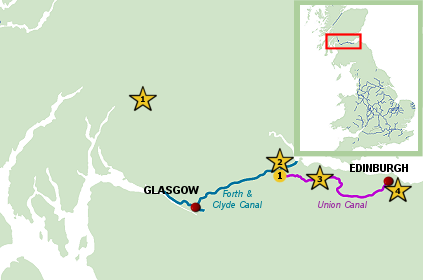 Scotland Canal map - boating holiday on the Scottish Canals