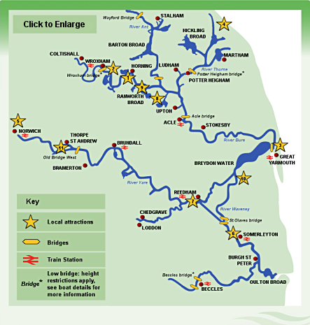 Norfolk Broads boat hire map