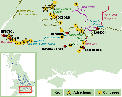 Guilford England Map.Southern England Boat Holidays Thames Bath And Oxford Canal Boat Hire