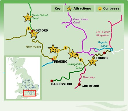 River Thames boating holiday map